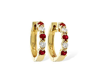 E028-75840: EARRINGS .33 RUBY .52 TGW