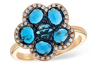 H215-13167: LDS RG 1.82 ROSE CUT BLUE TOPAZ 1.97 TGW